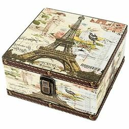 Wood Jewelry Keepsake Storage Box Memory Boxes Eiffel Tower