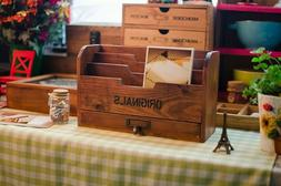 Wood Vintage Letter Holders Drawer Office Stationery Organiz