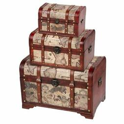 Juvale Wooden Chest Trunk, 3-Piece Storage Trunk and Chests