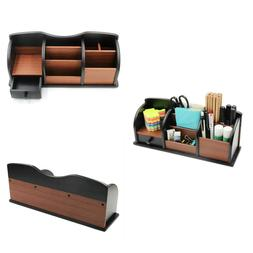 Wooden Desk Organizer Office Supplies Accessories Storage Dr