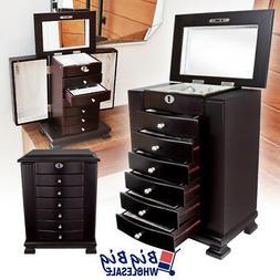 wooden jewelry treasure amoire storage box organizer