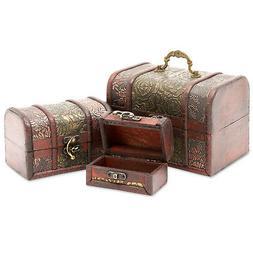 3 Piece Wooden Treasure Box - Keepsake Box - Treasure Chest