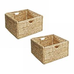 Woven Wicker Storage Basket Set 2 Baskets Bin Box Organizer