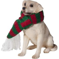 Sandicast Yellow Labrador Retriever with Red and Green Scarf