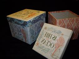 """YOU ME and the SEA"" Decorative Nesting Storage Boxes Set of"