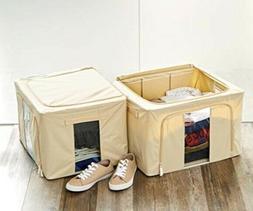 zipper storage bin 2 pack fabric foldable